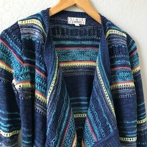 Pink Republic Blue Rainbow Waterfall Knit Cardigan
